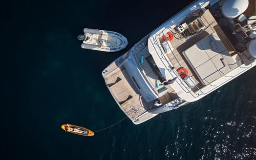Motor Yacht Hummingbird Aerial Aft Deck with tender