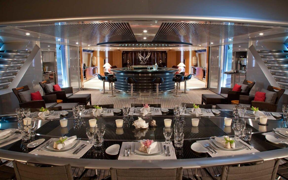 Sailing Yacht Maltese Falcon al fresco dining