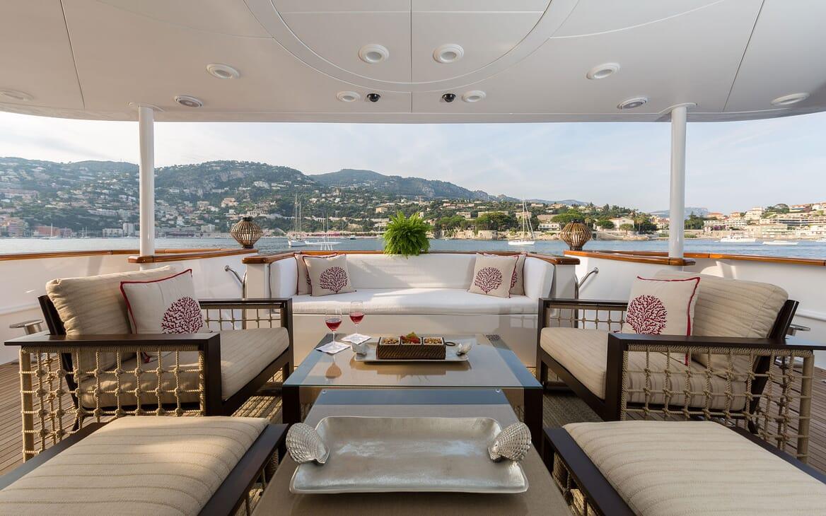 Motor Yacht BINA Main Aft Deck Seating