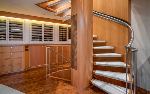 Motor Yacht ENVY Spiral Staircase
