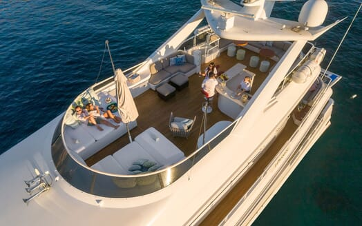 Motor Yacht ENVY Aerial Sun Deck