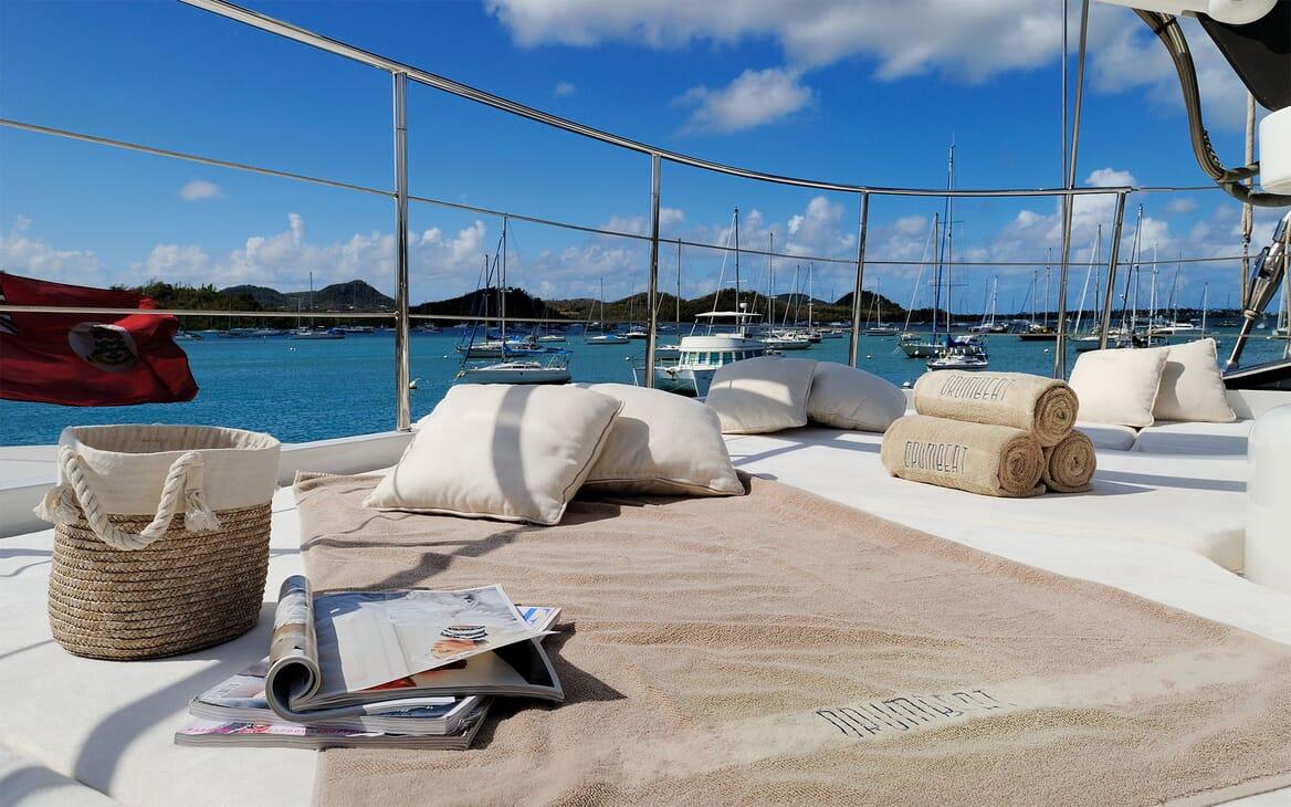 Sailing Yacht DRUMBEAT Bow Sun Bathing