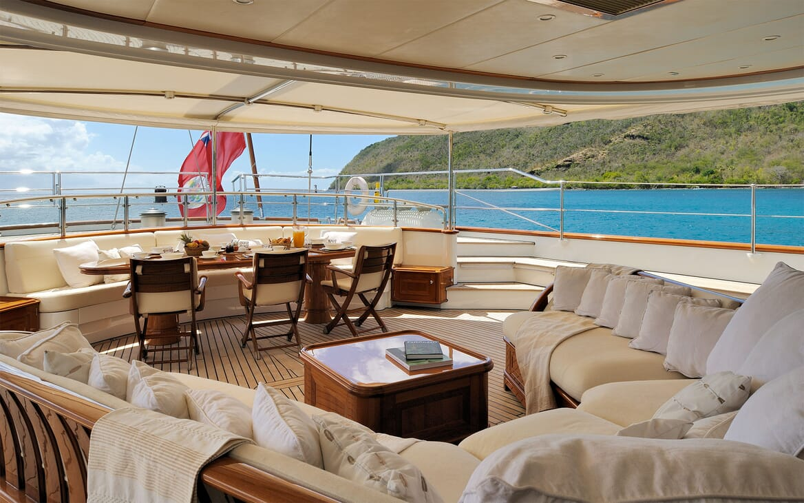 Sailing Yacht DRUMBEAT Aft Deck Dining Table
