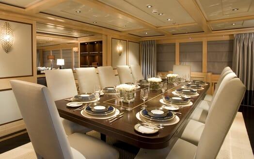 Motor Yacht Odessa dining area