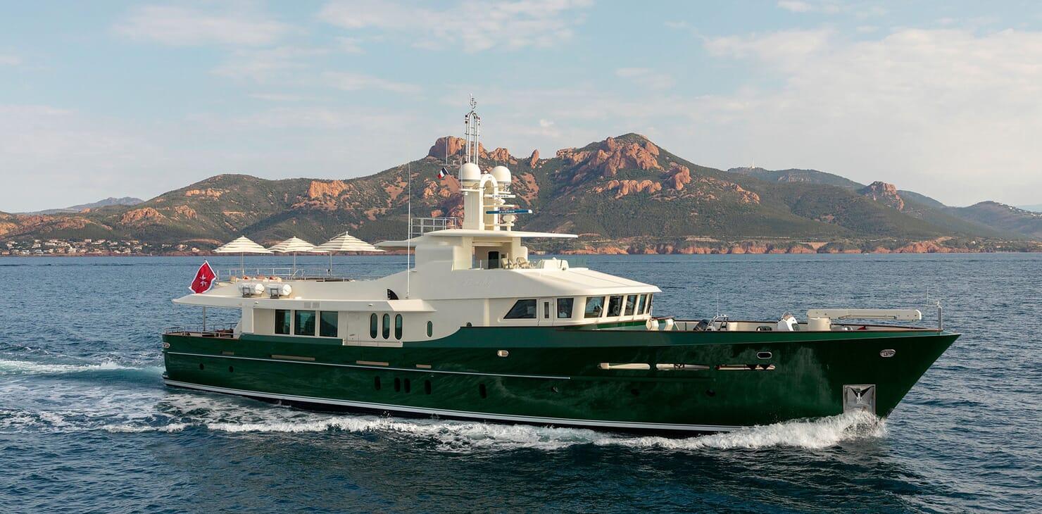 Motor yacht BEVERLEY hero shot on water