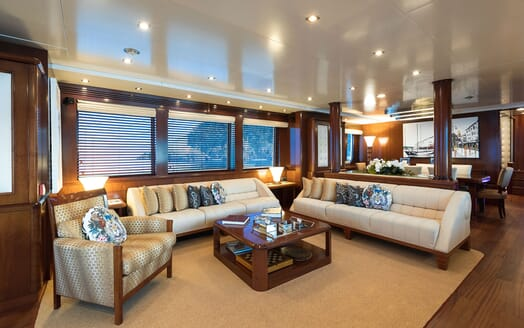 Motor yacht BEVERLEY living room with cream seating and soft lighting