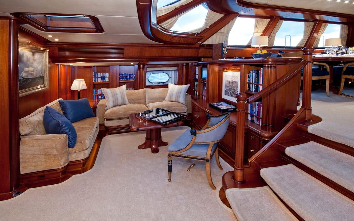 Sailing Yacht HYPERION Main Saloon Games Corner