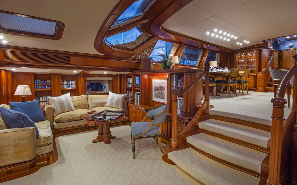 Sailing Yacht HYPERION Interior Saloon and Games Corner