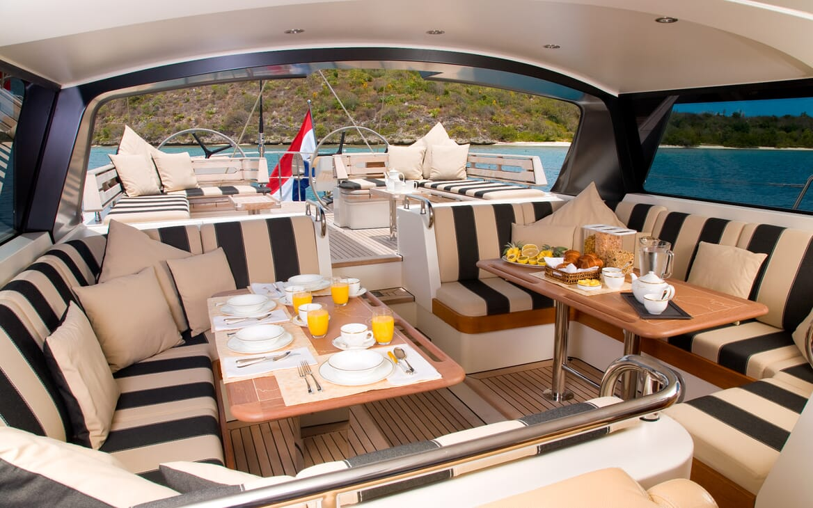 Sailing Yacht Icarus outdoor seating area