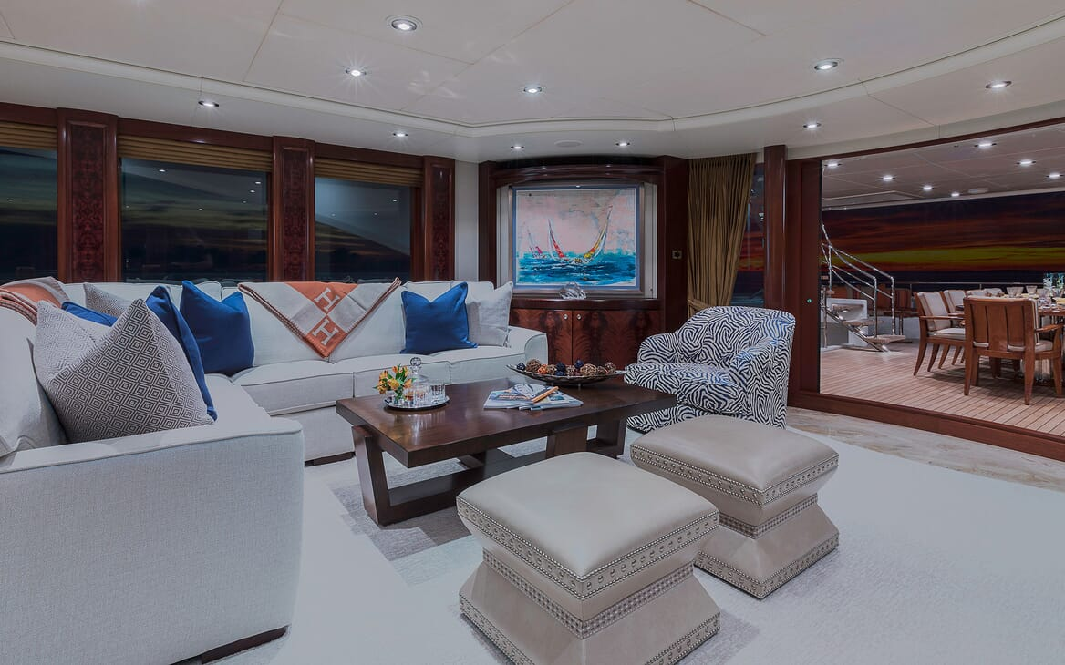 Motor Yacht Avalon Main Saloon to Aft