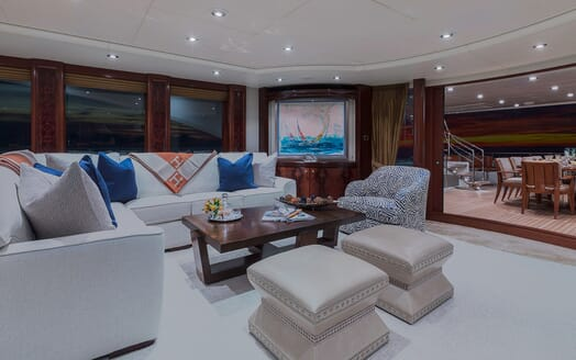 Motor Yacht Avalon Main Saloon to Aft