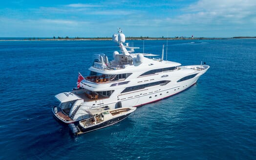 Motor Yacht Avalon Profile Shot with Tender