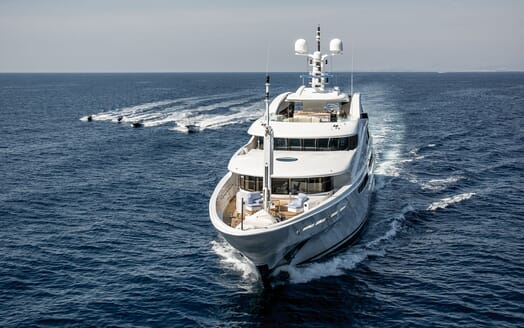 Motor Yacht ST DAVID Bow Underway With Tenders and Toys