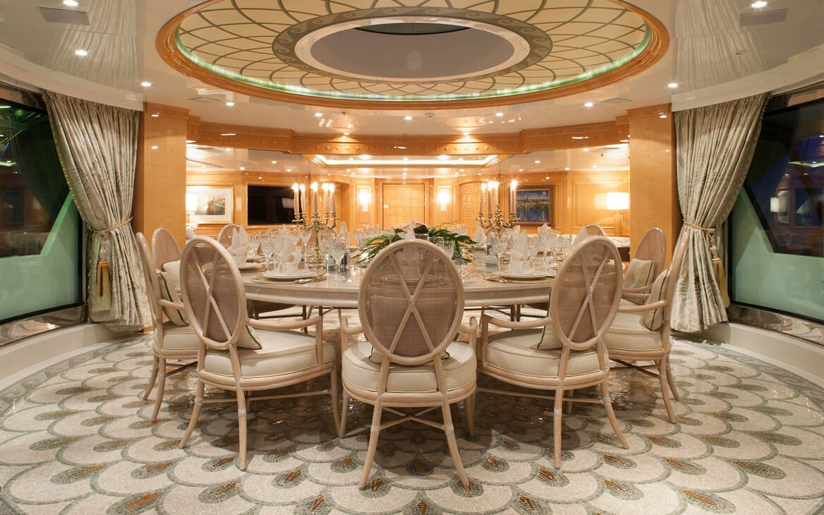 Motor Yacht ST DAVID Upper Deck Dining Table