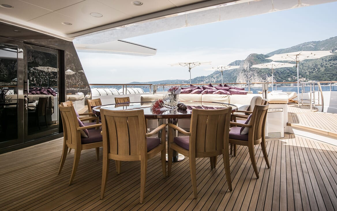Motor Yacht ST DAVID Aft Deck Dining Table