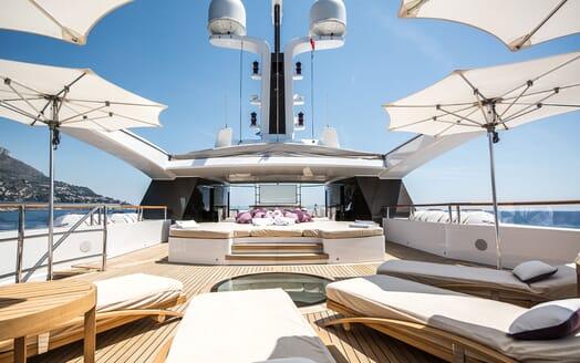 Motor Yacht ST DAVID Sun Deck Sun Loungers and Pads