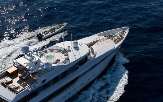 Motor Yacht LA TANIA Underway with Tender