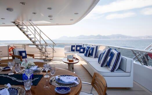 Motor Yacht LA TANIA Upper Aft Deck Seating