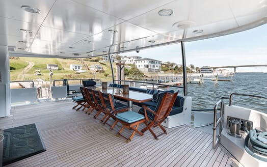 Motor Yacht NICOLE EVELYN Main Aft Deck Table
