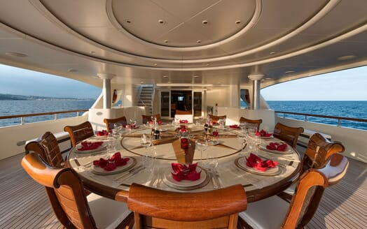 Motor Yacht TOMMY Aft Deck Dining