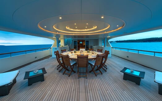 Motor Yacht TOMMY Aft Deck Evening Table