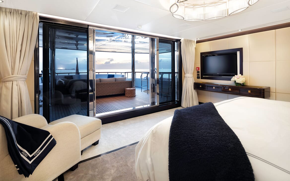 Motor Yacht MYSTIC Master Stateroom to Aft Deck