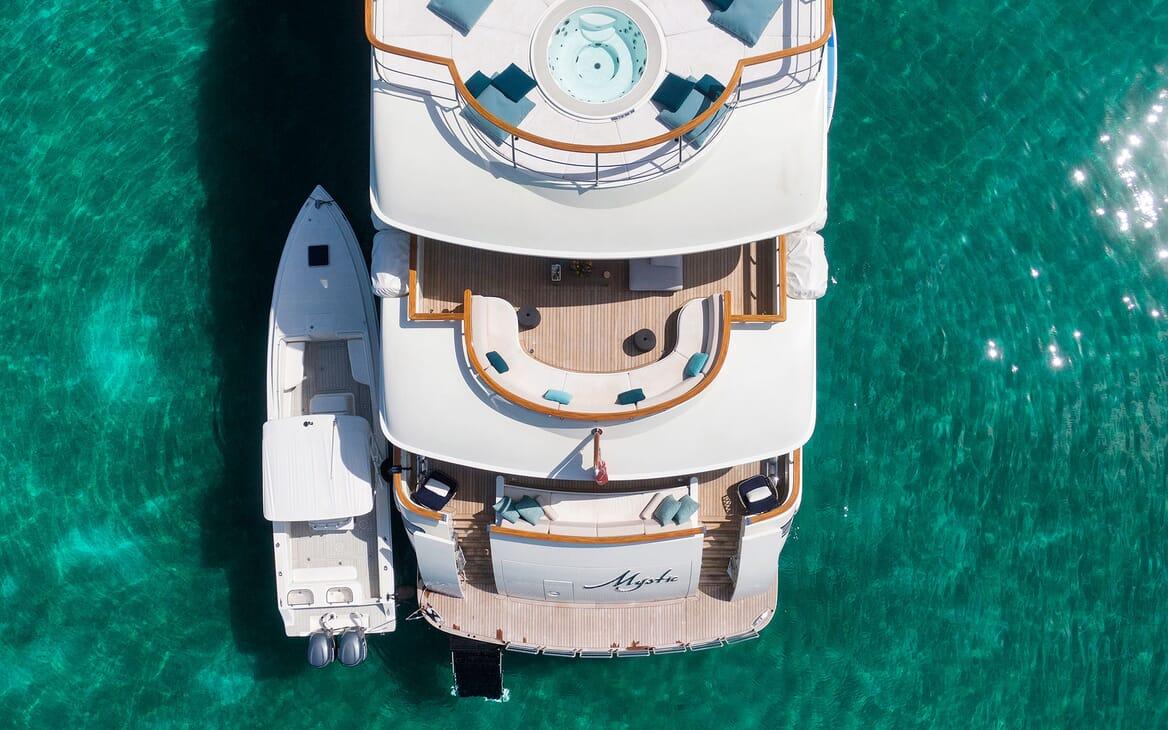 Motor Yacht MYSTIC Aft Birds Eye View