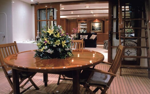 Motor Yacht Cassiopeia outdoor seating area