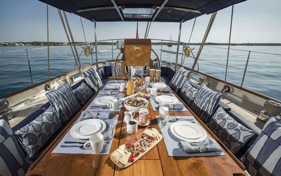 Sailing Yacht ALEXA OF LONDON Sun Deck Al Fresco Breakfast