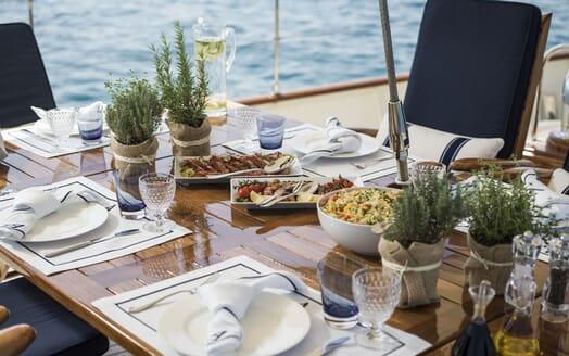 Sailing Yacht ALEXA OF LONDON Sun Deck Dining Detail