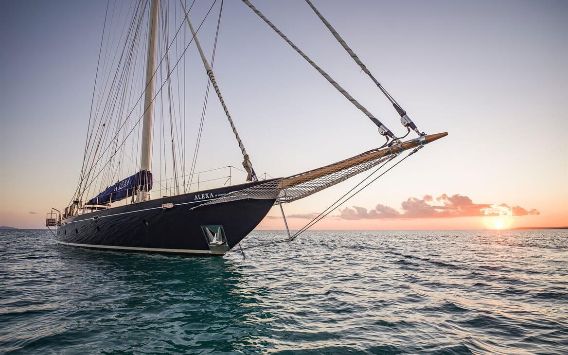Sailing Yacht ALEXA OF LONDON Bow Sun Set