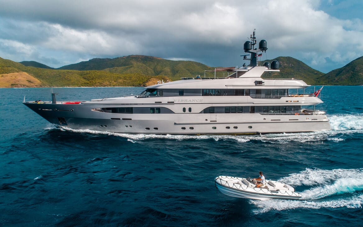 Motor Yacht VIBRANCE Profile Underway with Tender
