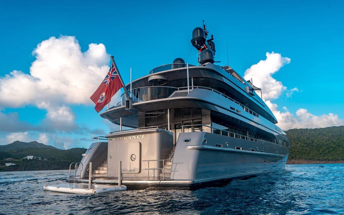Motor Yacht VIBRANCE Aft View with Swim Platform