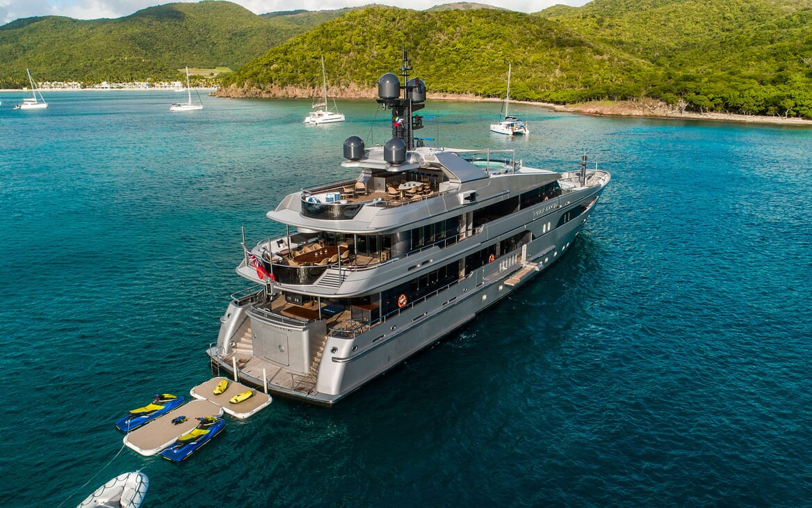 Motor Yacht VIBRANCE Aerial View with Swim Platform and Toys