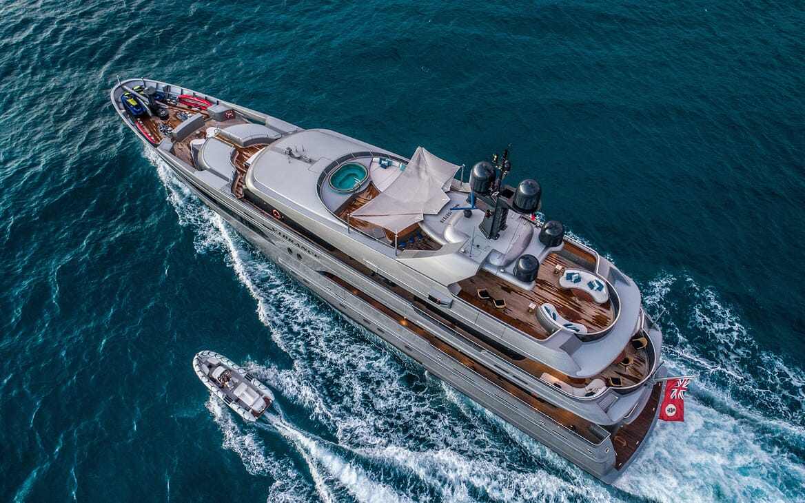 Motor Yacht VIBRANCE Aerial Running Shit with Tender