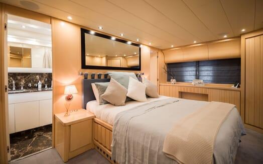Motor Yacht AYA Master Stateroom and bathroom