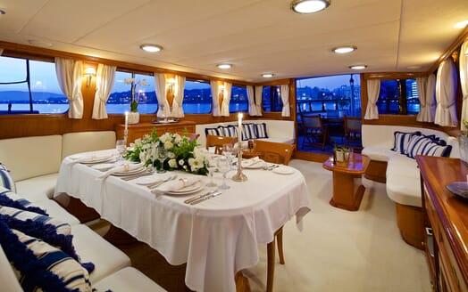 Sailing Yacht Hermina dining area