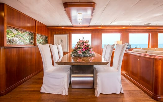 Motor Yacht Voyager dining area