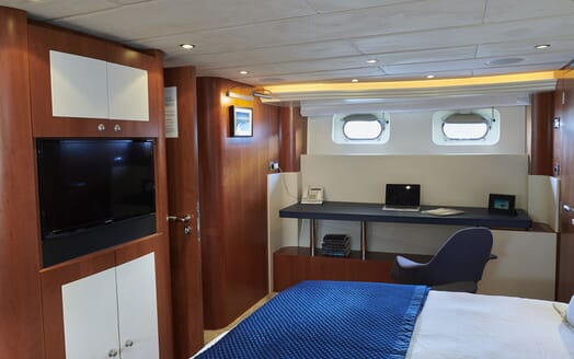 Motor Yacht WILLOW Guest Double Stateroom TV and Desk