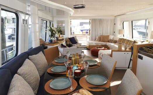 Motor Yacht WILLOW Main Salon Dining Table