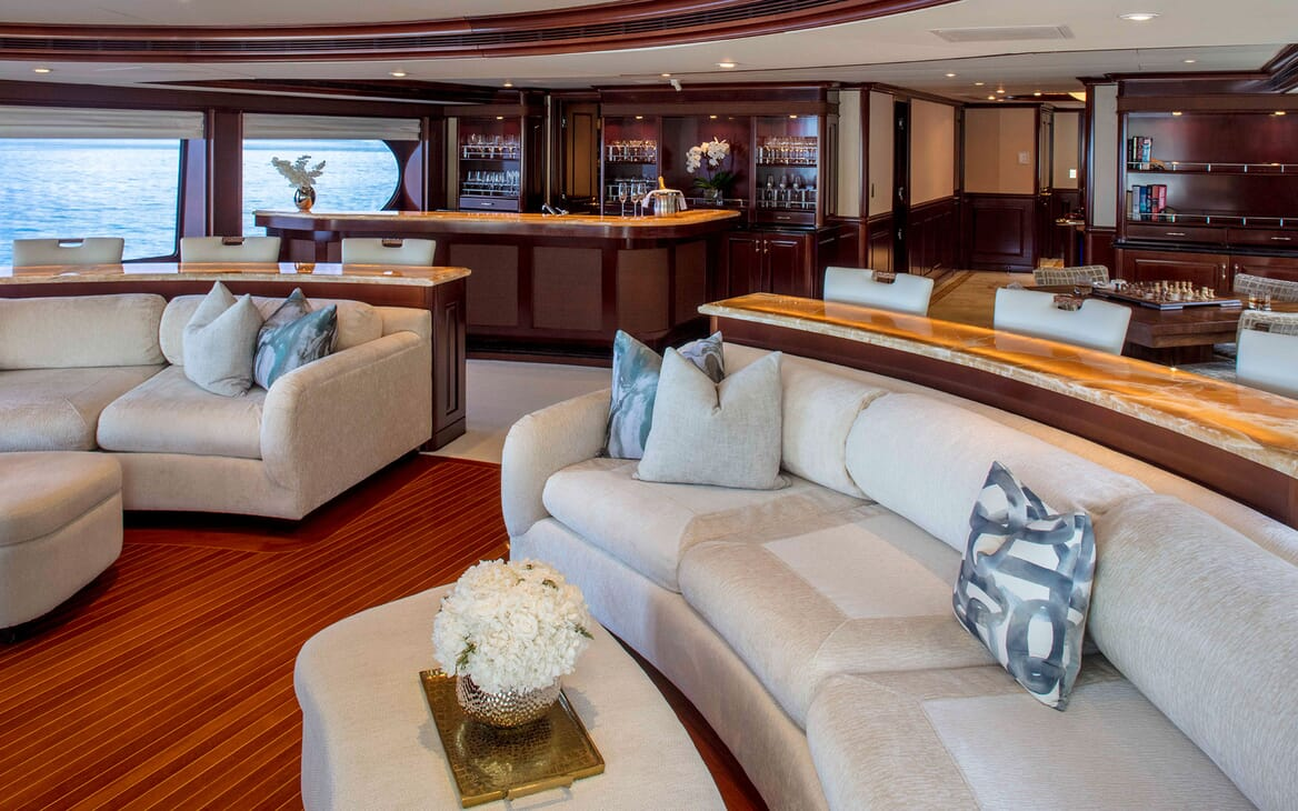 Motor yacht MILESTONE with curved living room seating