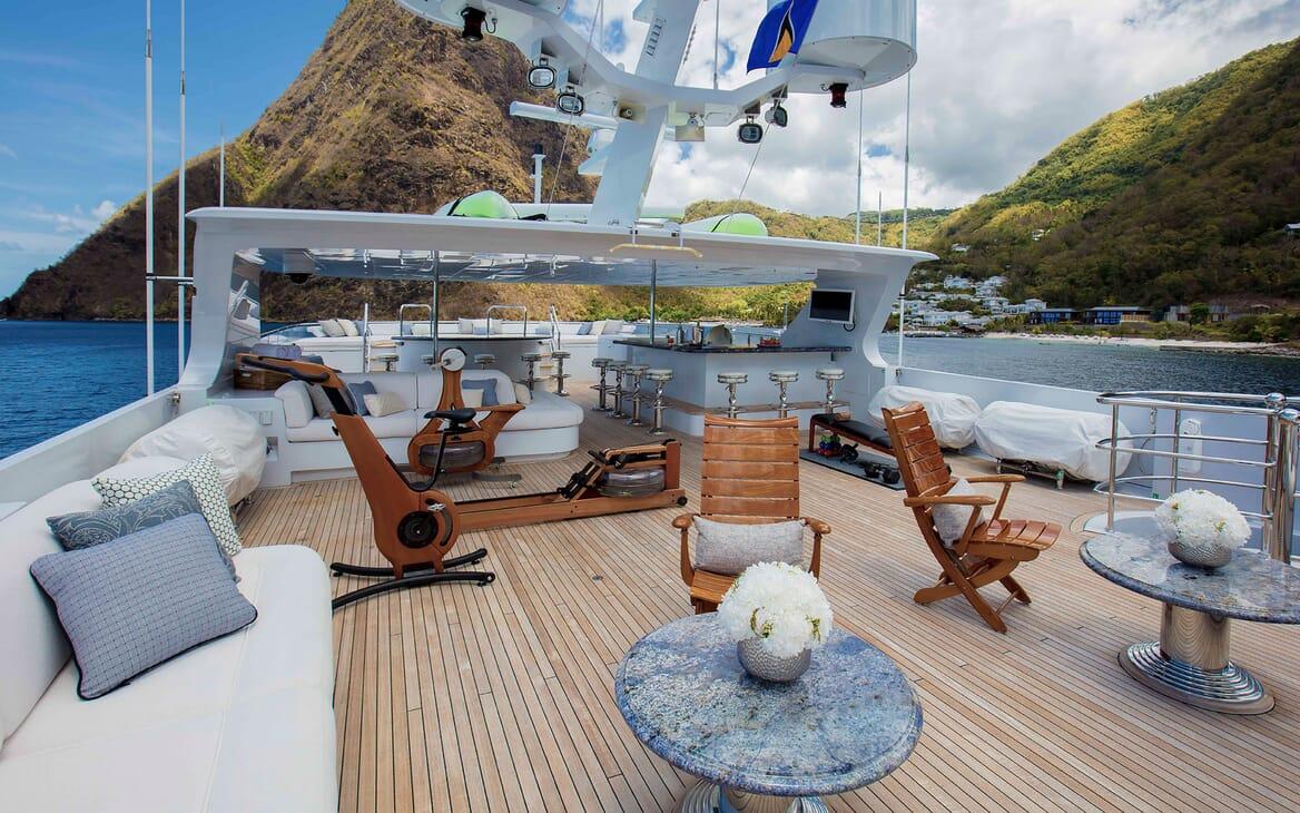 Motor yacht MILESTONE deck shot with gym equipment