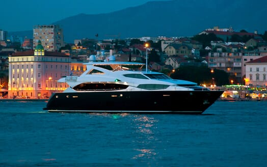 Motor Yacht Cassiopeia Evening Profile