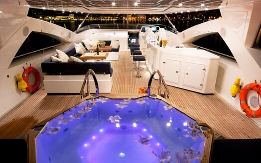 Motor Yacht Cassiopeia Evening Top Deck and Jacuzzi