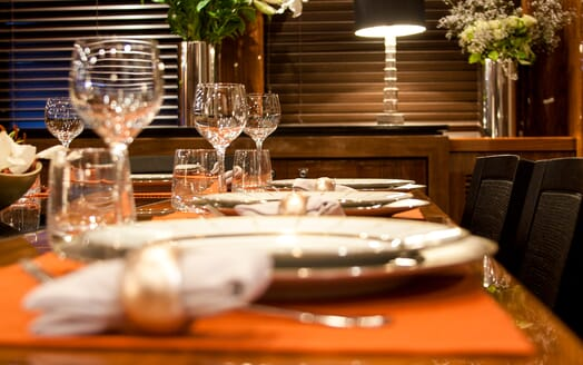 Motor Yacht Cassiopeia Dining Detail
