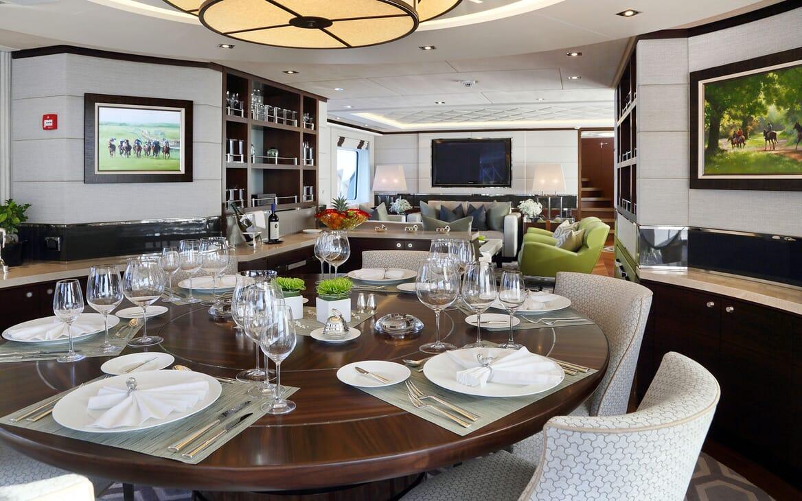 Motor Yacht AURELIA Dining Room and Saloon