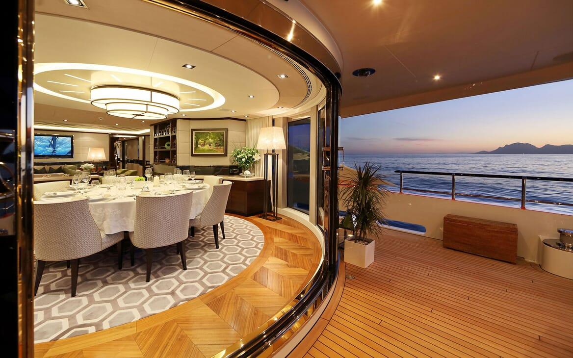 Motor Yacht AURELIA Dining Room to Aft