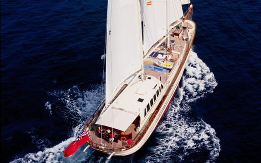Sailing Yacht TIGERLILY OF CORNWALL Aerial Aft Underway
