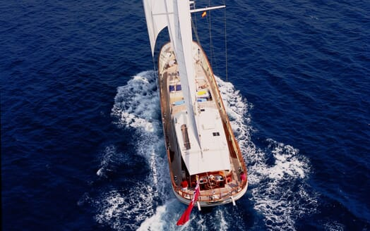 Sailing Yacht TIGERLILY OF CORNWALL Aerial Aft Underway 2