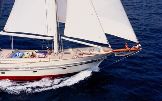 Sailing Yacht TIGERLILY OF CORNWALL Relaxing on the Bow
